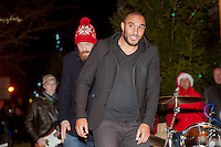 Thursday 20 November 2014<br /> Pictured: Ashley Williams and wales Rugby Captain Alun Wyn Jones <br /> Re: Swansea City Captain Ashley Williams helps turn on the Christmas Lights at The Mumbles, Near Swansea, Wales UK