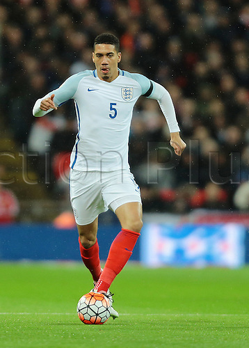 29.03.2016. Wembley Stadium, London, England.  International Football Friendly England versus Netherlands. England Defender Chris Smalling on the ball