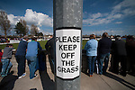 Lowestoft Town 2 Barrow 3, 25/04/2015. Crown Meadow, Conference North. Barrow make the six-hour trip to Suffolk needing a win to secure the title. A please keep off the pitch sign at Crown Meadow. Photo by Simon Gill.