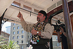 Cable car conductor bell ringing at contest