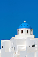 The striking blue Cycladic-style domes of Santorini's old churches are the most recognizable feature of the town Oia on the north end of the island. Oia was severely damaged in the 1956 earthquake and much work has been involved to implement its restoration.