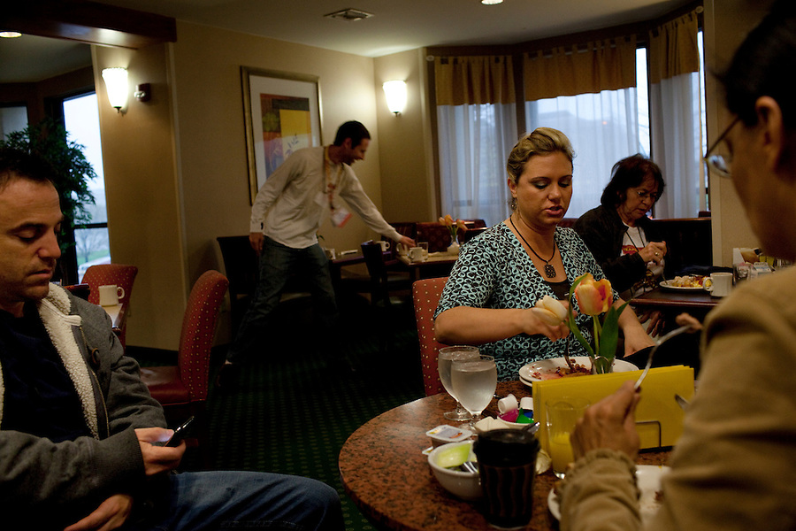 Topeka, Kansas, April 2, 2010 - Tea Party Express staffers and team members have breakfast at their hotel before setting out for a rally on the Capitol steps, the eleventh in its 43-city tour across the country which concludes in Washington, D.C. on April 15 for a tax day rally...