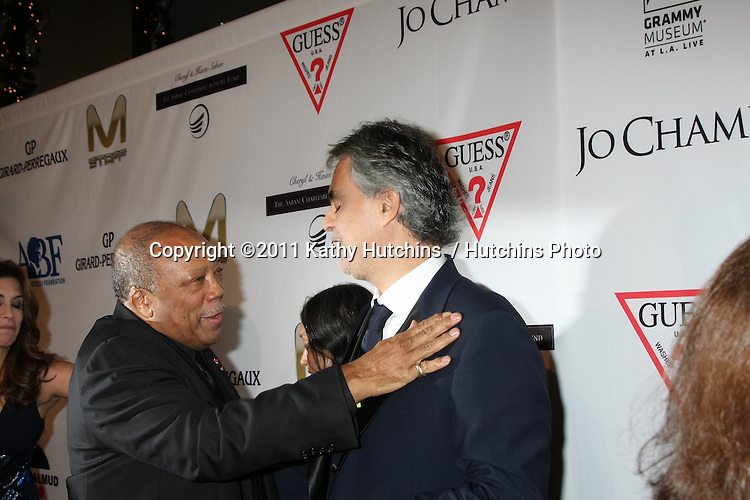 LOS ANGELES - DEC 9:  Quincy Jones, Andrea Bocelli arrives at the Launch Of The Andrea Bocelli Foundation at Beverly Hilton Hotel on December 9, 2011 in Beverly Hills, CA