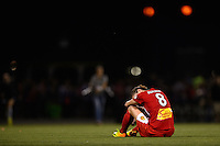 Western New York Flash forward Adriana Martin (8) sits in the field after the match. The Portland Thorns defeated the Western New York Flash 2-0 during the National Women's Soccer League (NWSL) finals at Sahlen's Stadium in Rochester, NY, on August 31, 2013.
