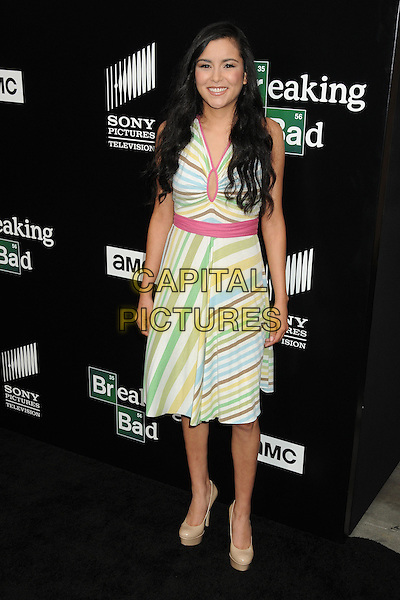 Emily Rios<br /> &quot;Breaking Bad&quot; Final Episodes Los Angeles Premiere Screening held at Sony Pictures Studios, Culver City, California, USA, 24th July 2013.<br /> full length yellow striped dress green white pink <br /> CAP/ADM/BP<br /> &copy;Byron Purvis/AdMedia/Capital Pictures