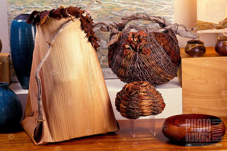 Hawaiian crafts, baskets and koa wood bowl
