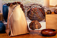 Hawaiian crafts, baskets and koa wood bowl