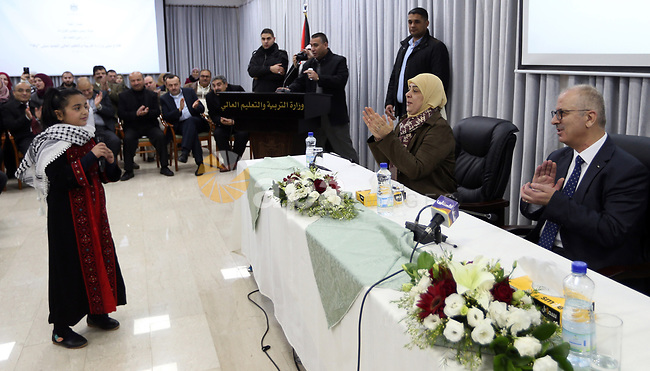 Palestinian Prime Minister, Rami Hamdallah, attends the opinning the new Education Building. in the West Bank city of Ramallah, on February 7, 2019. Photo by Prime Minister Office