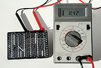 VOLTAGE OF A SOLAR CELL IN DIRECT SUNLIGHT<br /> Measured By A Multimeter Used As A Volt Meter