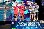 18th March 2018, Arena Birmingham, Birmingham, England; Yonex All England Open Badminton Championships; Yuta Watanabe (JPN) and Arisa Higashino (JPN) receive their gold medal after winning in the mixed doubles final against Zheng Siwei (CHN) and Huang Yaqiong (CHN)