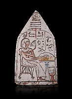 "Ancient Egyptian Ra stele , limestone, New Kingdom, 19th Dynasty, (1279-1190 BC), Deir el-Medina,  Egyptian Museum, Turin. black background<br /> <br /> Akh iqer en Ra "" the excellent spirit of Ra' stele. The individual is smelling a lotus flower. One of three stele forund in different rooms of houses in Deir el-Medina where they stood in niches."