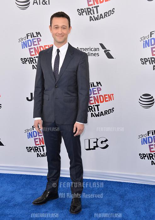 Joseph Gordon-Levitt  at the 2018 Film Independent Spirit Awards on the beach in Santa Monica, USA 03 March 2018<br /> Picture: Paul Smith/Featureflash/SilverHub 0208 004 5359 sales@silverhubmedia.com