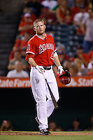 Mark Trumbo #44 of the Los Angeles Angels during a game against the Oakland Athletics at Angel Stadium on September 10, 2012 in Anaheim, California. Oakland defeated Los Angeles 3-1. (Larry Goren/Four Seam Images)