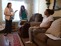 NWA Democrat-Gazette/ANDY SHUPE<br /> Sade Danie (right) speaks Friday, June 29, 2018, with Cat Rosenschein (left), executive director of Compassion House in Elm Springs. Danie is the first 18-year-old woman to move into Compassion House, a home for pregnant teens, after a policy change made June 11 allowed them to accept 18- and 19-year-olds.