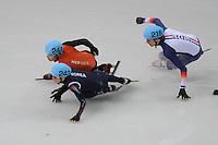 OLYMPICS: SOCHI: Iceberg Skating Palace, 10-02-2014, Shorttrack, 1500m Men, B-finale, Sjinkie Knegt (#248) wordt onderuit gereden door de Koreaan Se Young Park (#242), Sebastian Lepape (#216 | FRA), ©foto Martin de Jong