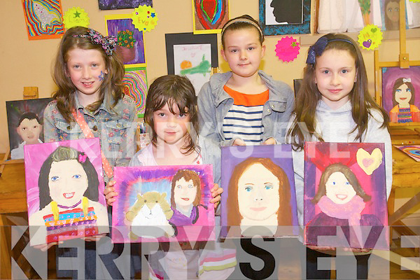 Displaying their art work at the Canvas club exhibition in Kilgarvan on Sunday morning. . L-R Danielle Twomey, Eva Gadsden, Chloe Casey and Jessica Twomey.