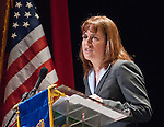 Crystal Abba, Vice Chancelor for Academic and Student Affairs, Nevada System of Higher Education presents the commencement address at the Western Nevada College commencement in Fallon, Nev., on Tuesday, May 20, 2014.