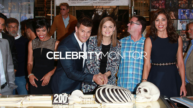 CENTURY CITY, CA, USA - NOVEMBER 14: Tamara Taylor, David Boreanaz, Emily Deschanel pose at FOX's 'Bones' 200th Episode Celebration With The Cast And Producers held at the Fox Studio Lot on November 14, 2014 in Century City, California, United States. (Photo by David Acosta/Celebrity Monitor)