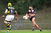 Riley Hohepa prepares to spread the ball wide during the Mitre 10 Cup rugby game between Counties Manukau Steelers and Taranaki Bulls, played at Navigation Homes Stadium, Pukekohe on Saturday August 10th 2019. Taranaki won the game 34 - 29 after leading 29 - 19 at halftime.<br /> Photo by Richard Spranger.
