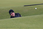 5th October 2017, The Old Course, St Andrews, Scotland; Alfred Dunhill Links Championship, first round; Jamie Donaldson of Wales escapes from the Road Hole bunker of the 17th hole during the first round at the Alfred Dunhill Links Championship on the Old Course, St Andrews