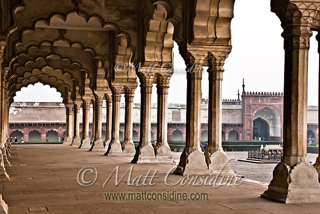 The colonnade in the Red Fort of Agra, a UNESCO World Heritage site.  The Shah Jahan and other great Mughals governed from here.<br /> (Photo by Matt Considine - Images of Asia Collection)