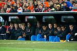 Nederland, Rotterdam, 12 oktober 2012.Kwalificatiewedstrijd WK 2014.Nederland-Andorra .De reservebank van Oranje met o.a. Dirk Kuijt (5e van links), Urby Emanuelson (4e van rechts) en Kenneth Vermeer (6e van links).