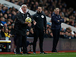 Steve Bruce manager of Newcastle United throws the ball back during the Premier League match at Villa Park, Birmingham. Picture date: 25th November 2019. Picture credit should read: Darren Staples/Sportimage