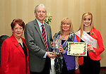 Lilly Fallon accepts the Award for 2nd Place from Editor of the Drogheda Independent, Hubert Murphy, Deirdre Howard Russell and Roisin Kavanagh at the Christmas Illumination Awards in Westcourt Hotel...Photo NEWSFILE/Jenny Matthews..(Photo credit should read Jenny Matthews/NEWSFILE)