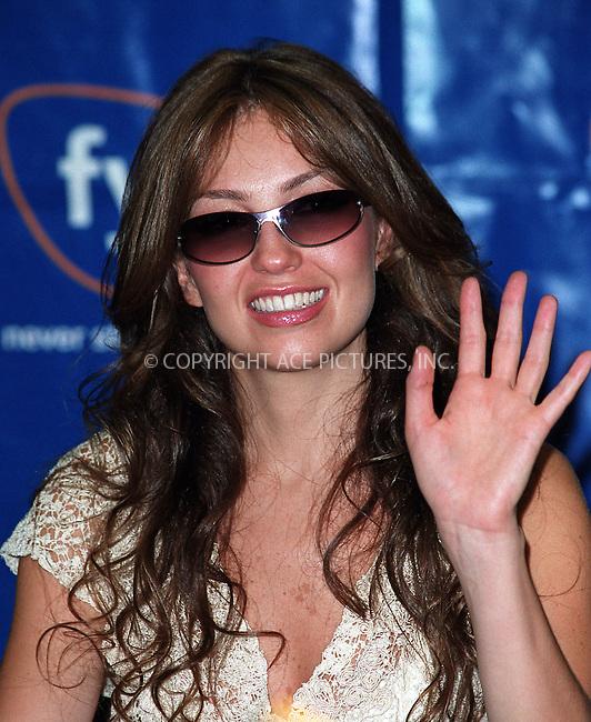 "Popular Latin singer and wife of Tommy Mottola Thalia Sodi (Ariadna Thalia Sodi Miranda)  made an appearance at FYI music store to promote her latest album, ""Thalia."" New York, May 28, 2002. Please byline: Alecsey Boldeskul/NY Photo Press.   ..*PAY-PER-USE*      ....NY Photo Press:  ..phone (646) 267-6913;   ..e-mail: info@nyphotopress.com"