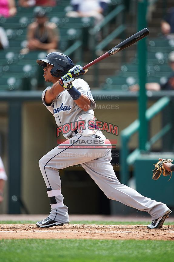 Columbus Clippers shortstop Yhoxian Medina (15) at bat during a game against the Rochester Red Wings on June 16, 2016 at Frontier Field in Rochester, New York.  Rochester defeated Columbus 6-2.  (Mike Janes/Four Seam Images)