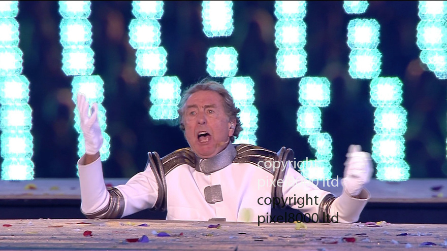"Olympics 2012 - BBC Coverage.Closing ceremony.Eric Idle sings ""Bright Side"" as a failed human canon ball......Picture by Pixel8000 07917221968"