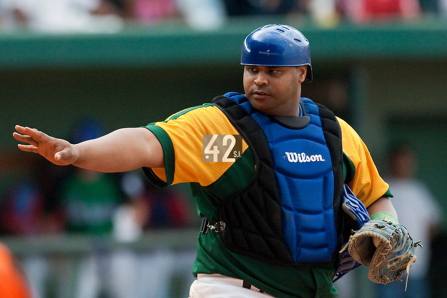 15 February 2009: Catcher Yosvany Peraza of the Occidentales is seen during a training game of Cuba Baseball Team for the World Baseball Classic 2009. The national team is pitted against itself, divided in two teams called the Occidentales and the Orientales. The Orientales win 12-8, at the Latinoamericano stadium, in la Habana, Cuba.
