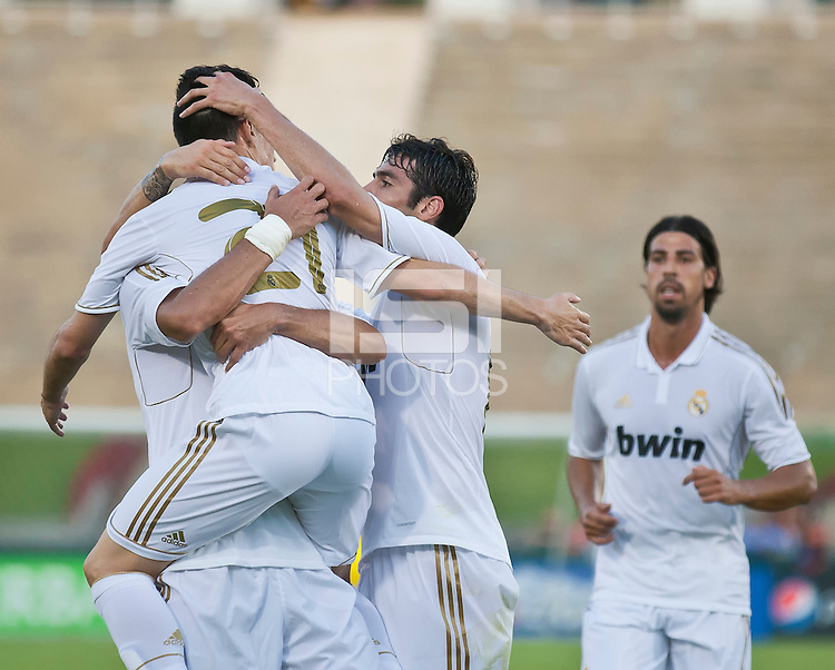 LOS ANGELES, CA – July 16, 2011: Jose Callejon (21) celebrates his goal during the match between LA Galaxy and Real Madrid at the Los Angeles Memorial Coliseum in Los Angeles, California. Final score Real Madrid 4, LA Galaxy 1.