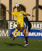 Emilio Renteria of the Crew battles for the ball in the air against Ramiro Corrales of the Earthquakes during the game at Buck Shaw Stadium in Santa Clara, California on June 2nd, 2010.  San Jose Earthquakes tied Columbus Crew, 2-2.