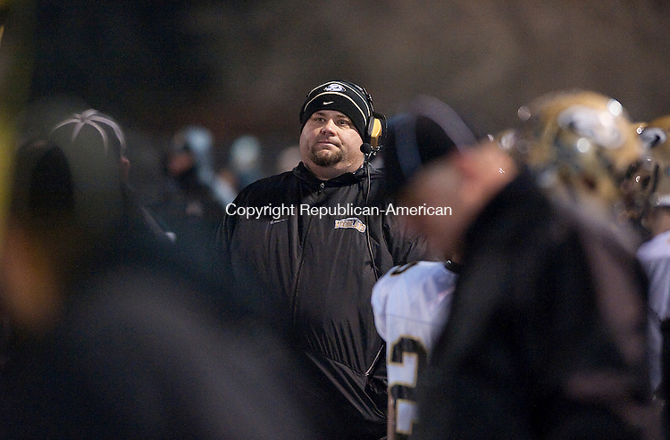 WATERBURY- 112013JS16- Woodland head coach Tim Shea shows his frustration during their 48-7 loss to Ansonia in the NVL championship Wednesday at Municipal Stadium in Waterbury. <br /> Jim Shannon Republican-American