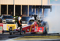 Apr. 29, 2011; Baytown, TX, USA: NHRA top fuel dragster driver Scott Palmer during qualifying for the Spring Nationals at Royal Purple Raceway. Mandatory Credit: Mark J. Rebilas-