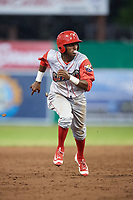 Williamsport Crosscutters center fielder Keudy Bocio (27) runs the bases during a game against the Batavia Muckdogs on June 22, 2018 at Dwyer Stadium in Batavia, New York.  Williamsport defeated Batavia 9-7.  (Mike Janes/Four Seam Images)