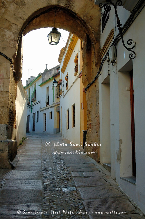 View of cobbled alley, Cordoba, Andalusia, Spain.