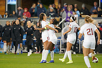 SAN JOSE, CA - DECEMBER 6: Sam Hiatt #17 of the Stanford Cardinal celebrates at the final whistle with Naomi Girma #2 during a game between UCLA and Stanford Soccer W at Avaya Stadium on December 6, 2019 in San Jose, California.