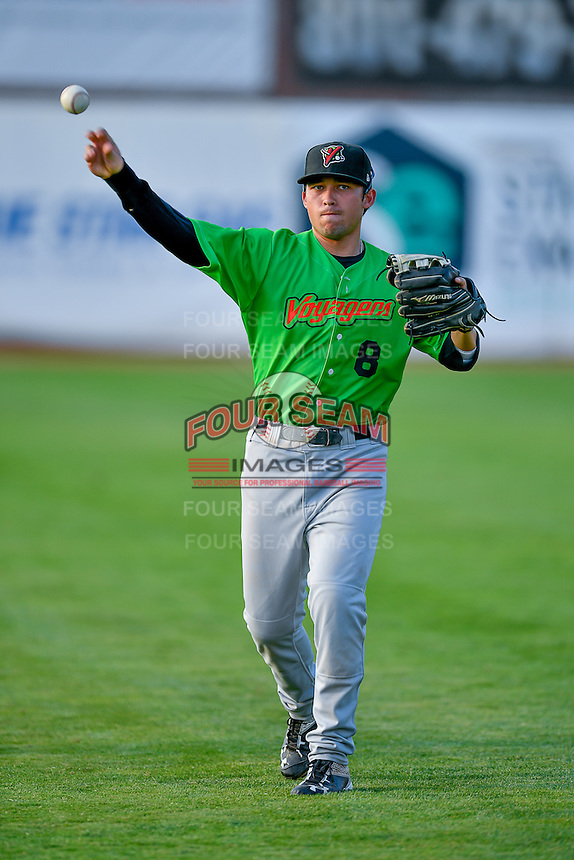 Brady Conlan (8) of the Great Falls Voyagers throws before the game against the Ogden Raptors in Pioneer League action at Lindquist Field on August 18, 2016 in Ogden, Utah. Ogden defeated Great Falls 10-6. (Stephen Smith/Four Seam Images)