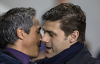Tottenham Hotspur Manager Mauricio Pochettino welcomes Fiorentina Head Coach Paulo Sousa during the UEFA Europa League 2nd leg match between Tottenham Hotspur and Fiorentina at White Hart Lane, London, England on 25 February 2016. Photo by Andy Rowland / Prime Media images.