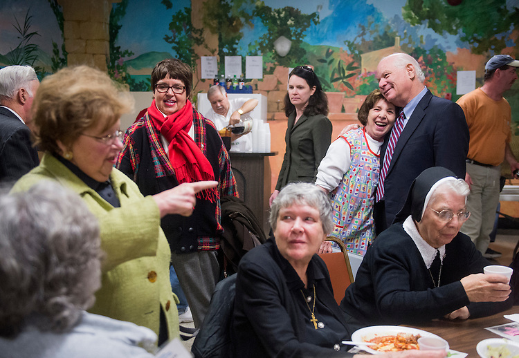 UNITED STATES - NOVEMBER 4: Sen. Ben Cardin, D-Md., and Sen. Barbara Mikulski, D-Md., greet diners at the St. Leo's Ravioli Dinner at St. Leo's Church in the Little Italy neighborhood of Baltimore on Sunday, Nov. 4, 2012. Sen. Cardin is running for another term as Maryland's junior Senator. (Photo By Bill Clark/CQ Roll Call)