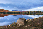 A Colorful And Pastoral Mountain Lake Scene On An Autumn Evening, Loon Lake, Adirondack Mountains, New York, USA