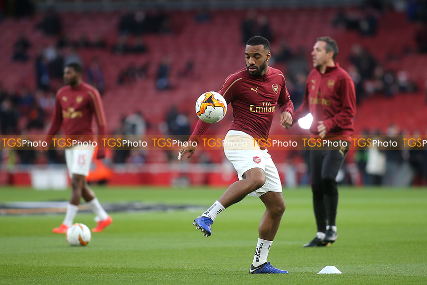 Alexandre Lacazette of Arsenal warms up ahead of kick-off during Arsenal vs Napoli, UEFA Europa League Football at the Emirates Stadium on 11th April 2019