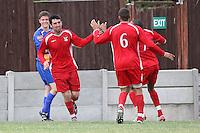 Aveley celebrate their third goal - Romford vs Aveley - Pre-Season Friendly Match at Mill Field, Aveley FC - 31/07/10 - MANDATORY CREDIT: Gavin Ellis/TGSPHOTO - Self billing applies where appropriate - Tel: 0845 094 6026