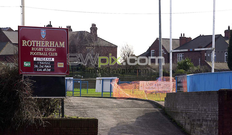 Pix: Ben Duffy/SWpix.com....Rugby Union-Rotherham Rugby Club....26/02/2002..COPYWRIGHT PICTURE>>SIMON WILKINSON>>01943 436649>>..Rotherham Rugby Union Club GV