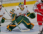 29 December 2018: University of Vermont Catamount Goaltender Stefanos Lekkas, a Junior from Elburn, IL, in third period action against the Rensselaer Engineers at Gutterson Fieldhouse in Burlington, Vermont. The Catamounts rallied from a 2-0 deficit to defeat RPI 4-2 and win the annual Catamount Cup Tournament. Mandatory Credit: Ed Wolfstein Photo *** RAW (NEF) Image File Available ***