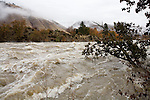Wenatchee River at Snow Blind Rapids above Cashmere, Washington on morning of November 7, 2006.  Flow level approximately 28,000 cubic feet per second.