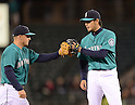 (L-R) Kyle Seager, Hisashi Iwakuma (Mariners),.APRIL 12, 2013 - MLB :.Hisashi Iwakuma of the Seattle Mariners celebrates with teammate Kyle Seager during the baseball game against the Texas Rangers at Safeco Field in Seattle, Washington, United States. (Photo by AFLO)