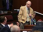 Nevada Sen. Joe Hardy, R-Boulder City, speaks on the Senate floor at the Legislative Building, in Carson City, Nev., on Monday, May 20, 2013. .Photo by Cathleen Allison